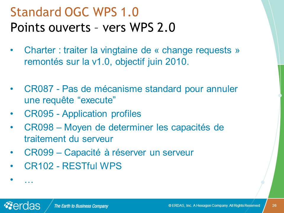Standard OGC WPS 1.0 Points ouverts – vers WPS 2.0