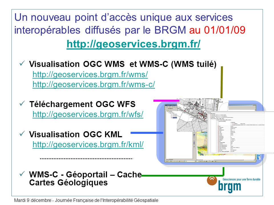 Un nouveau point d'accès unique aux services interopérables diffusés par le BRGM au 01/01/09