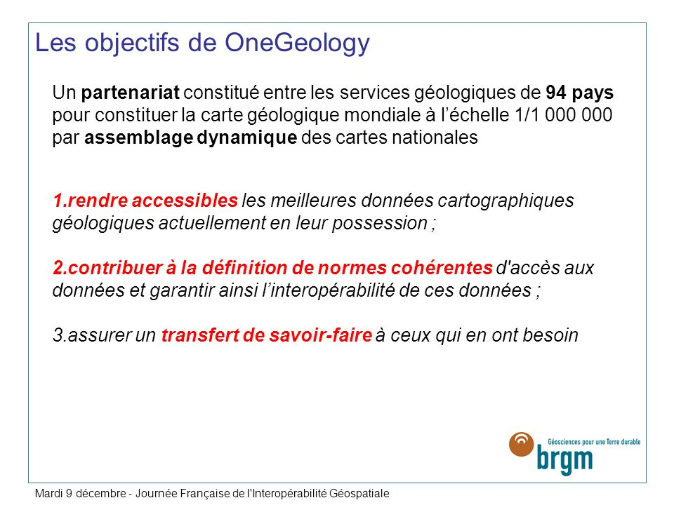 Les objectifs de OneGeology