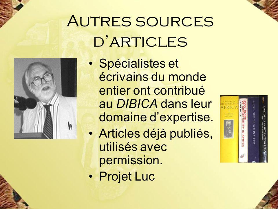 Autres sources d'articles