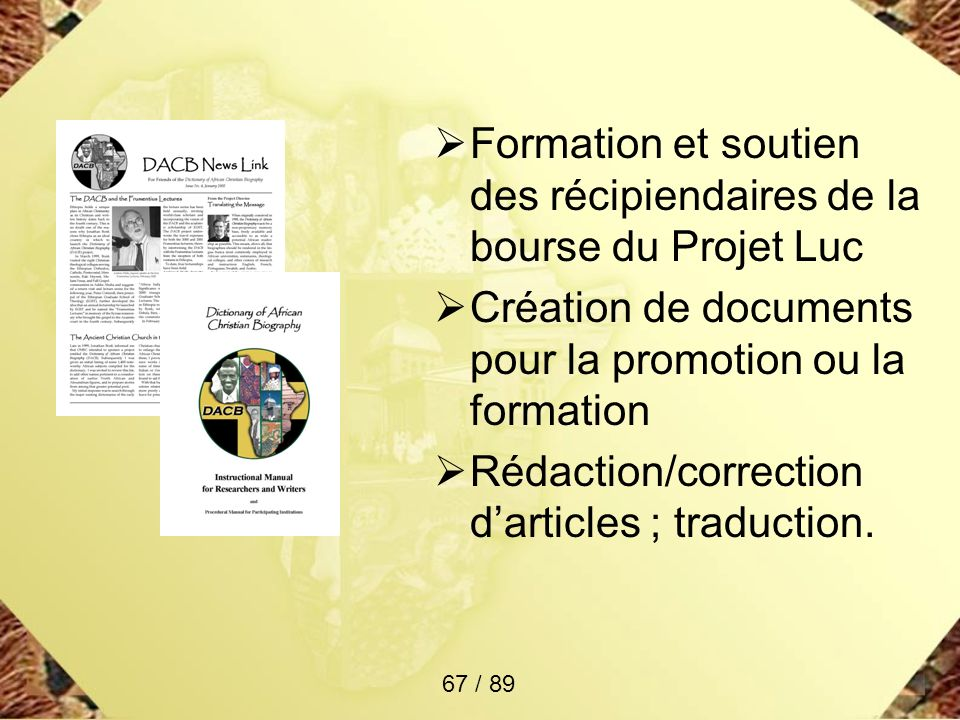 Formation et soutien des récipiendaires de la bourse du Projet Luc