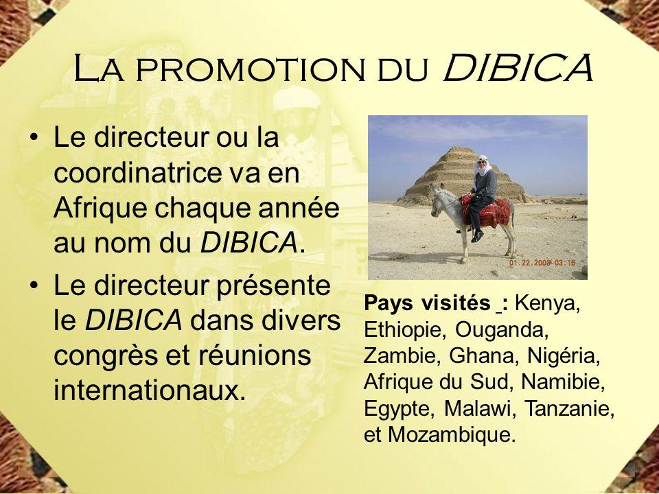 La promotion du DIBICA Le directeur ou la coordinatrice va en Afrique chaque année au nom du DIBICA.