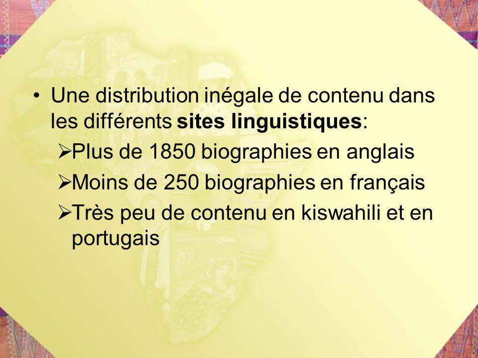 Une distribution inégale de contenu dans les différents sites linguistiques: