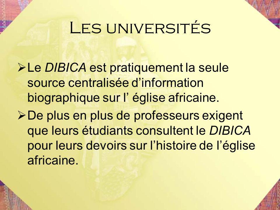 Les universités Le DIBICA est pratiquement la seule source centralisée d'information biographique sur l' église africaine.