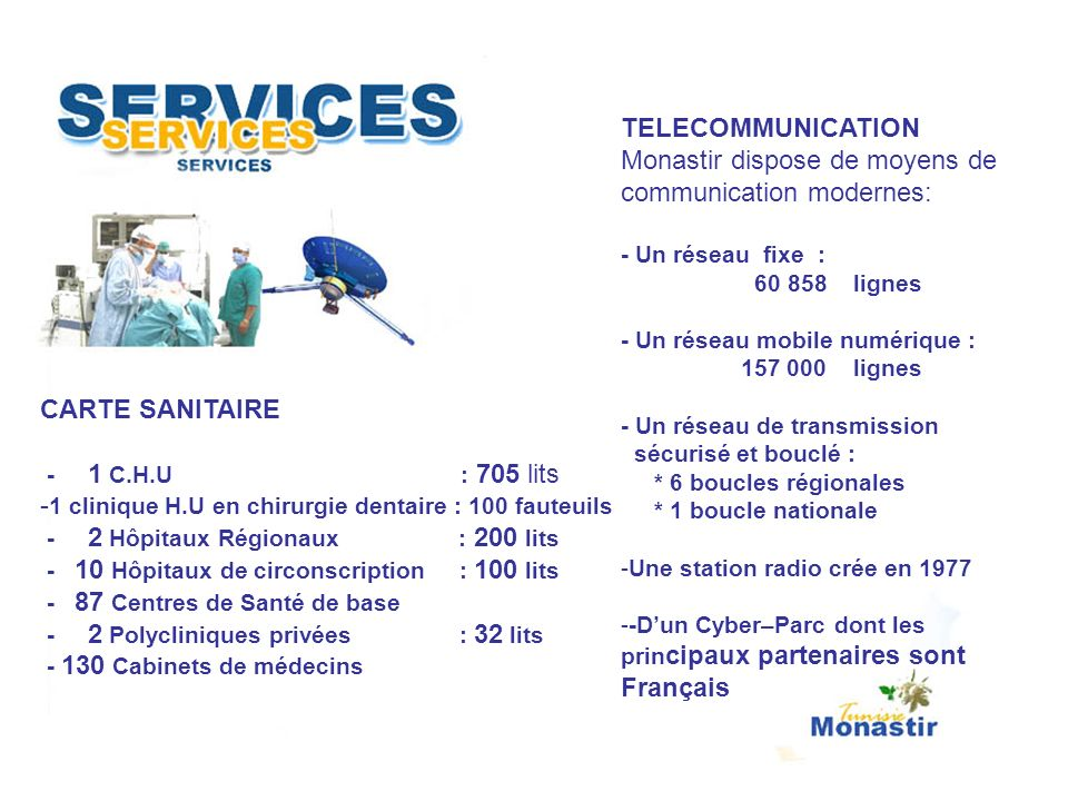 Monastir dispose de moyens de communication modernes:
