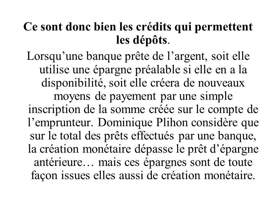 Ce sont donc bien les crédits qui permettent les dépôts.