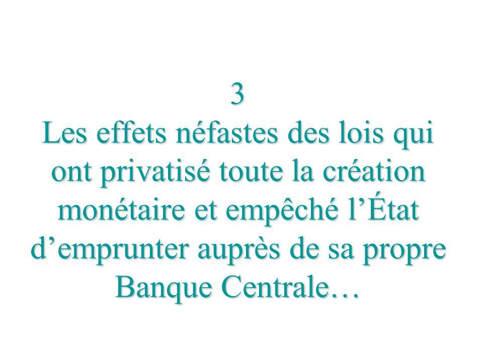 3 Les effets néfastes des lois qui ont privatisé toute la création monétaire et empêché l'État d'emprunter auprès de sa propre Banque Centrale…