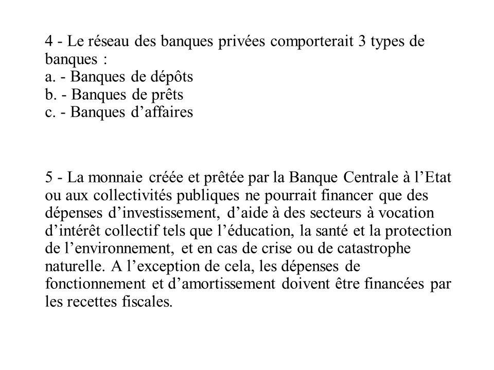 4 - Le réseau des banques privées comporterait 3 types de banques : a