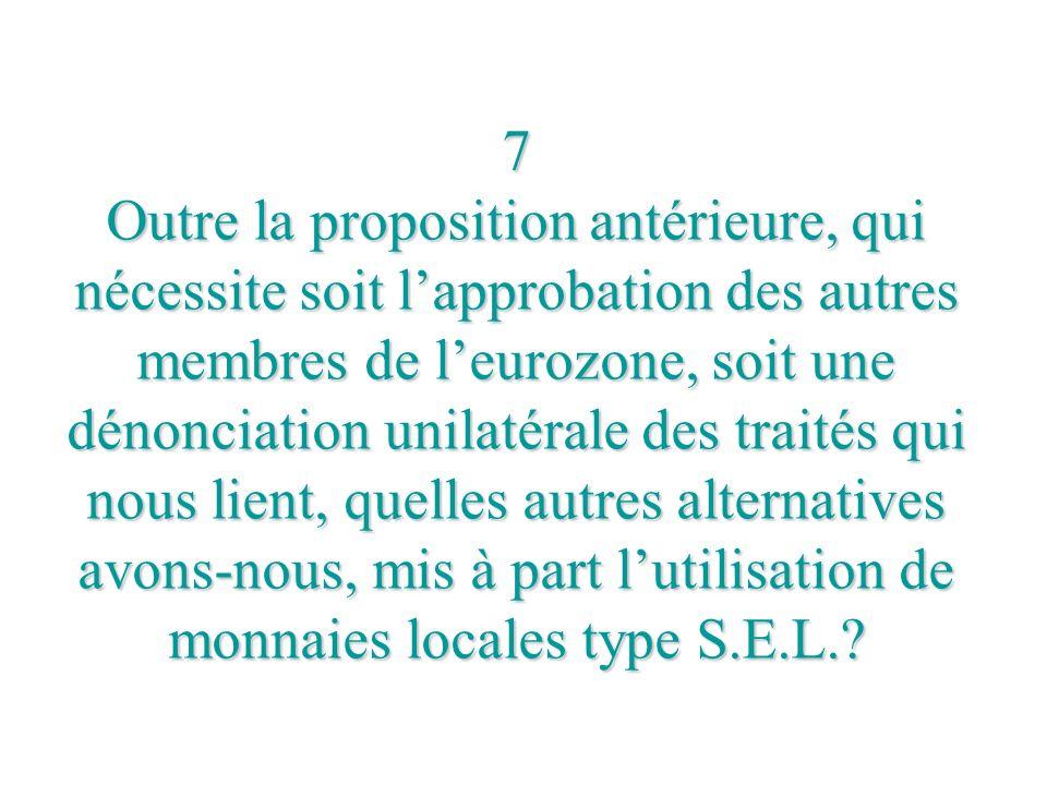 7 Outre la proposition antérieure, qui nécessite soit l'approbation des autres membres de l'eurozone, soit une dénonciation unilatérale des traités qui nous lient, quelles autres alternatives avons-nous, mis à part l'utilisation de monnaies locales type S.E.L.