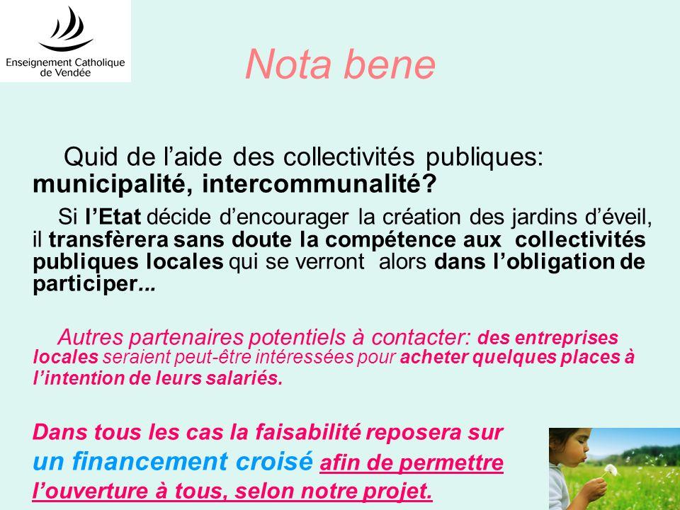 Nota bene Quid de l'aide des collectivités publiques: municipalité, intercommunalité