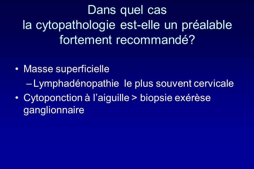 Dans quel cas la cytopathologie est-elle un préalable fortement recommandé