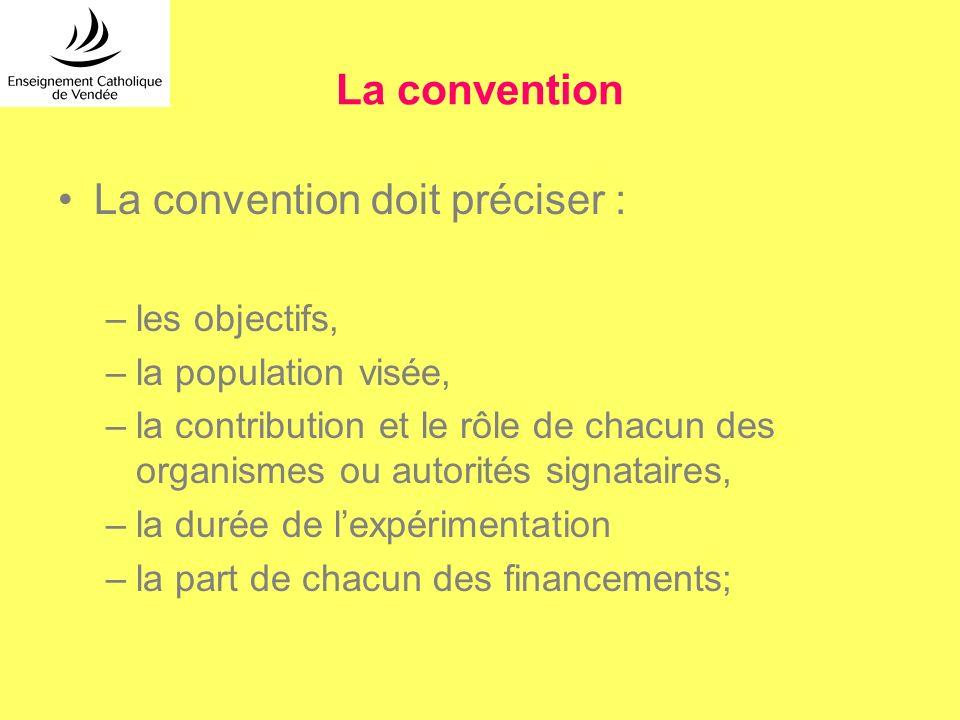 La convention doit préciser :