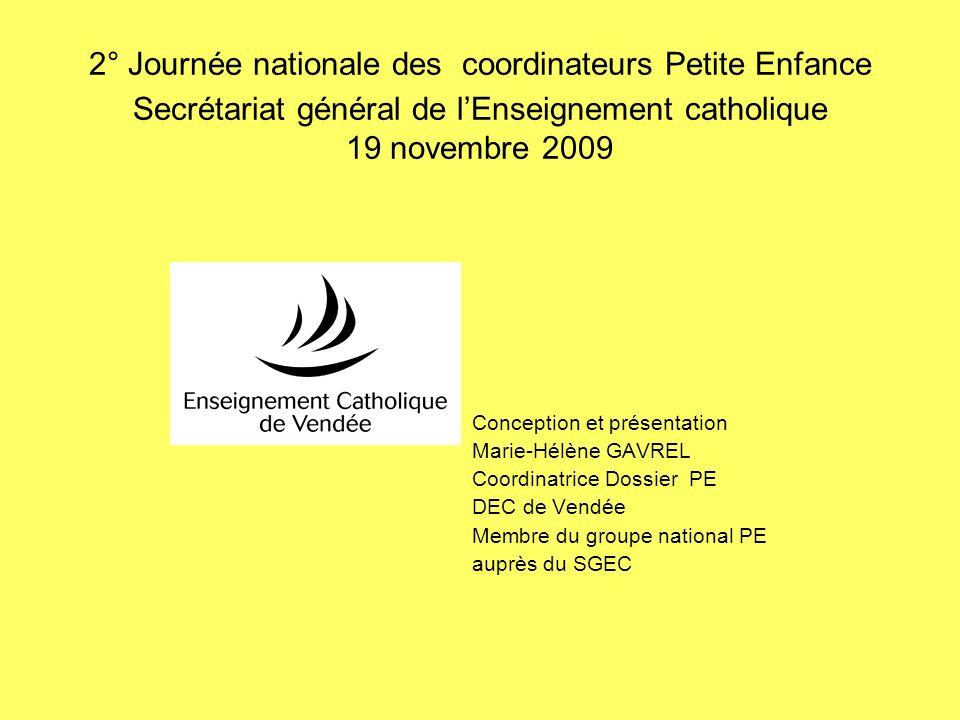 2° Journée nationale des coordinateurs Petite Enfance Secrétariat général de l'Enseignement catholique 19 novembre 2009