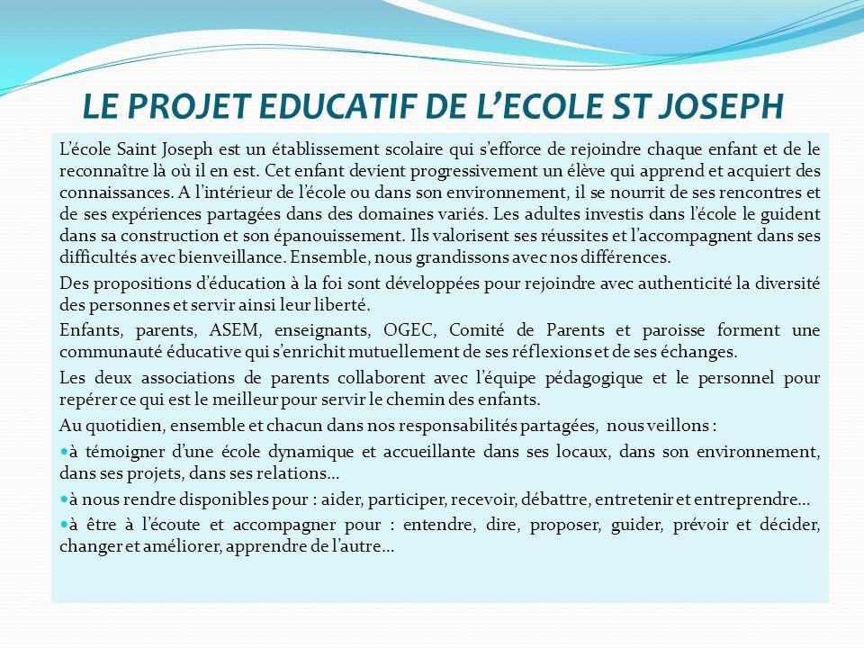 LE PROJET EDUCATIF DE L'ECOLE ST JOSEPH