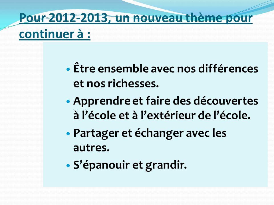 Pour 2012-2013, un nouveau thème pour continuer à :
