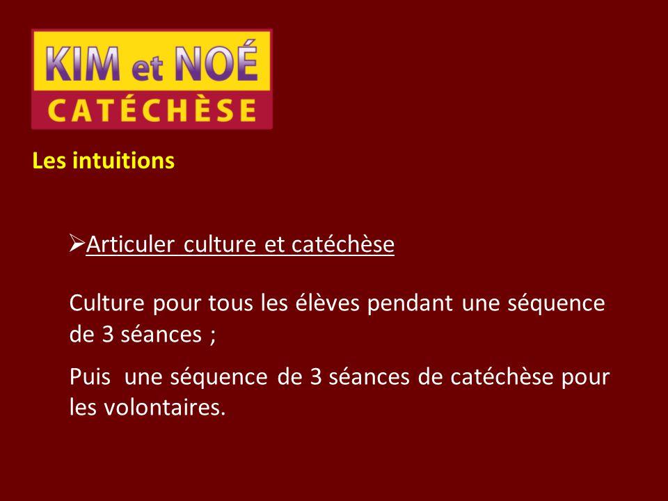 Les intuitions Articuler culture et catéchèse. Culture pour tous les élèves pendant une séquence de 3 séances ;