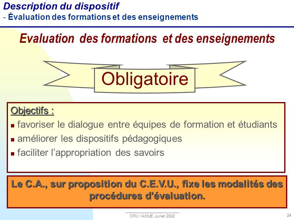 Evaluation des formations et des enseignements