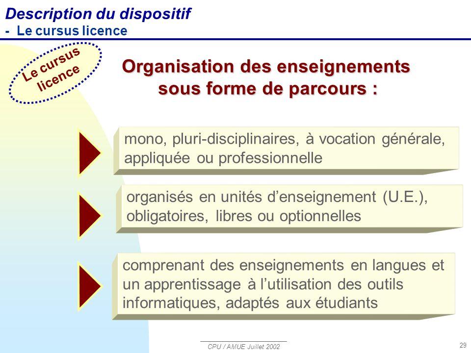 Organisation des enseignements sous forme de parcours :