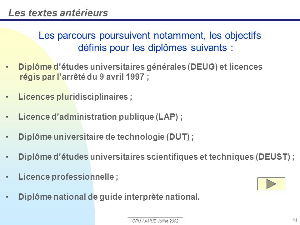 Les textes antérieurs Les parcours poursuivent notamment, les objectifs définis pour les diplômes suivants :