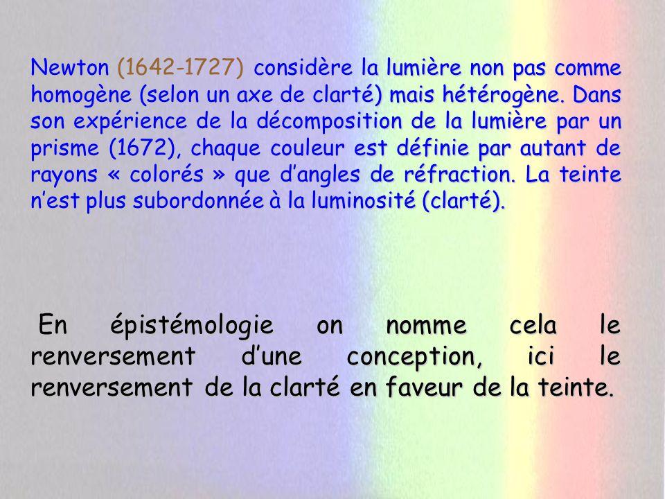 Newton (1642-1727) considère la lumière non pas comme homogène (selon un axe de clarté) mais hétérogène. Dans son expérience de la décomposition de la lumière par un prisme (1672), chaque couleur est définie par autant de rayons « colorés » que d'angles de réfraction. La teinte n'est plus subordonnée à la luminosité (clarté).