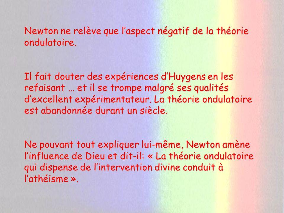 Newton ne relève que l'aspect négatif de la théorie ondulatoire.