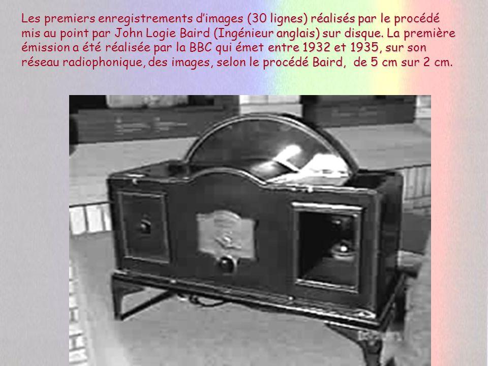 Les premiers enregistrements d'images (30 lignes) réalisés par le procédé mis au point par John Logie Baird (Ingénieur anglais) sur disque.