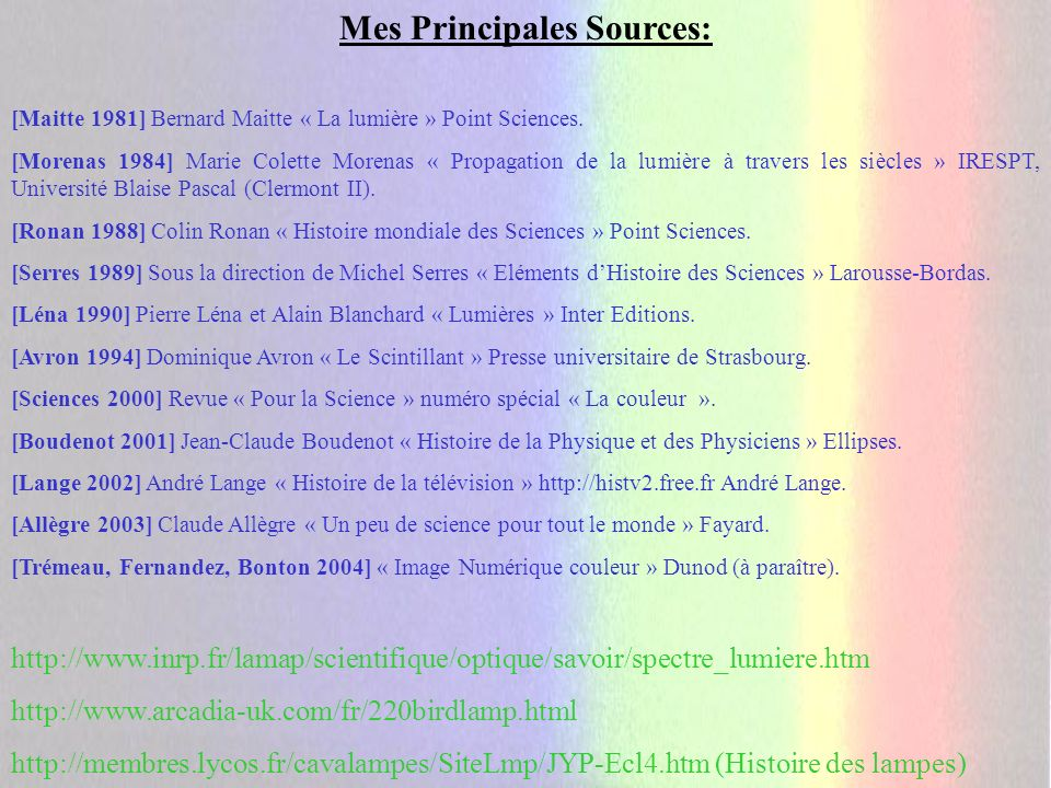 Mes Principales Sources: