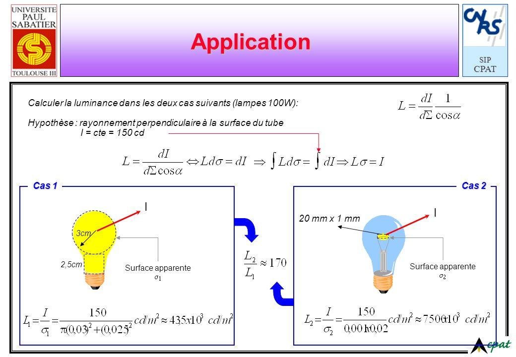 Application Calculer la luminance dans les deux cas suivants (lampes 100W): Hypothèse : rayonnement perpendiculaire à la surface du tube.