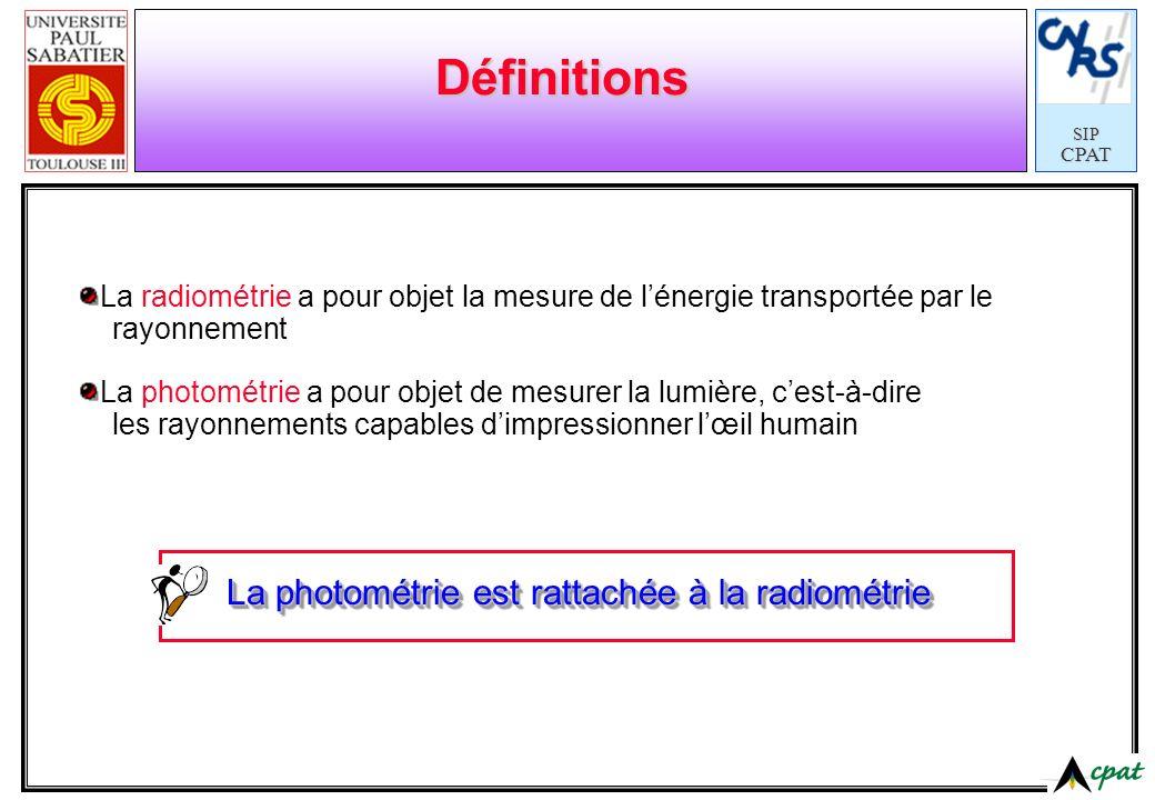 Définitions La photométrie est rattachée à la radiométrie