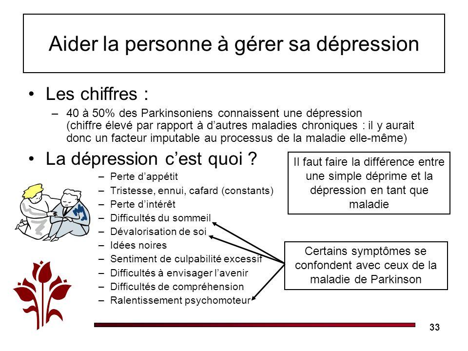 Aider la personne à gérer sa dépression