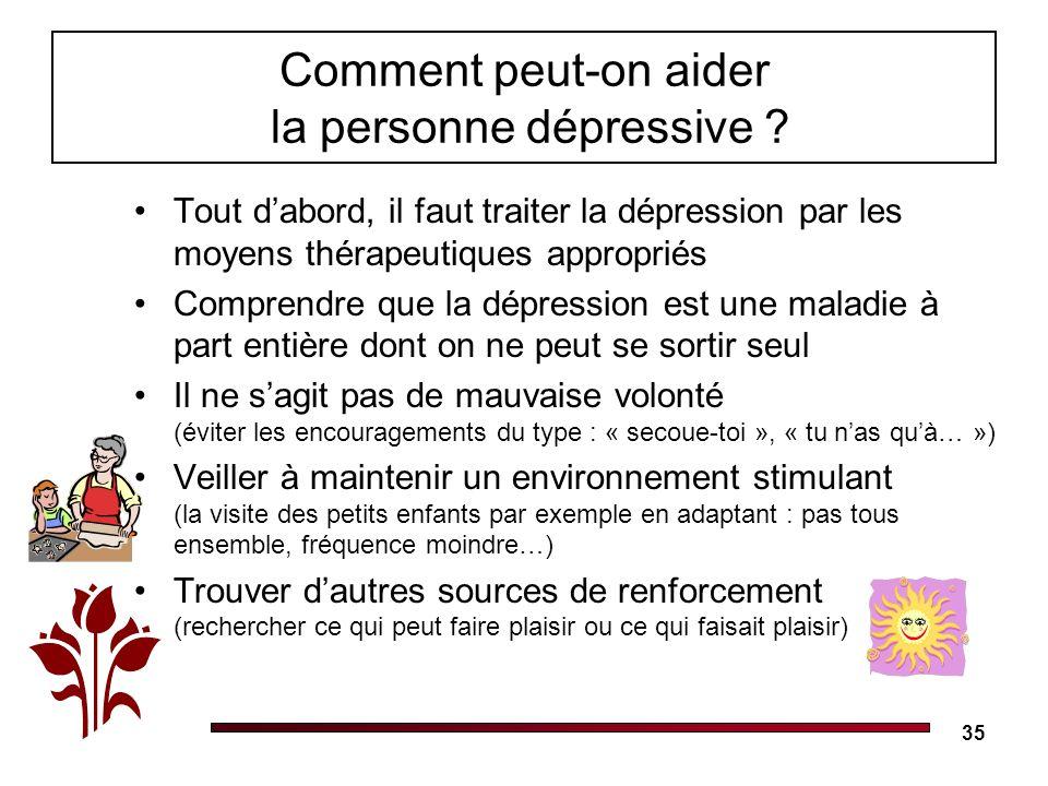 Comment peut-on aider la personne dépressive