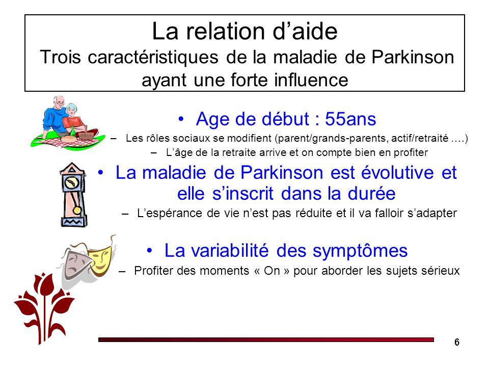 La relation d'aide Trois caractéristiques de la maladie de Parkinson ayant une forte influence