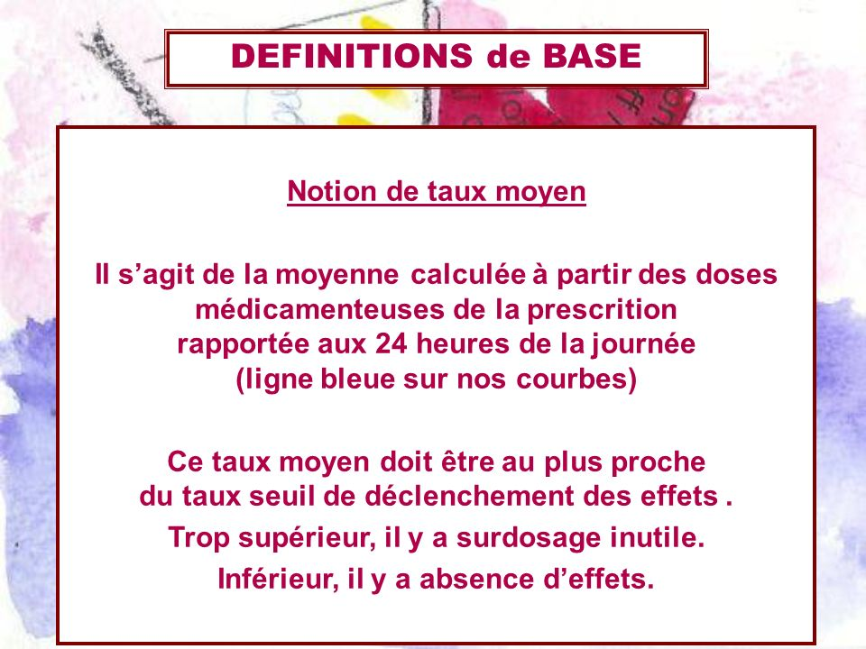 DEFINITIONS de BASE Notion de taux moyen