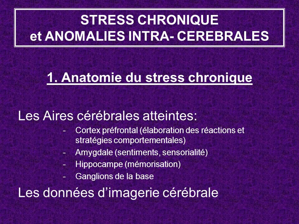 STRESS CHRONIQUE et ANOMALIES INTRA- CEREBRALES