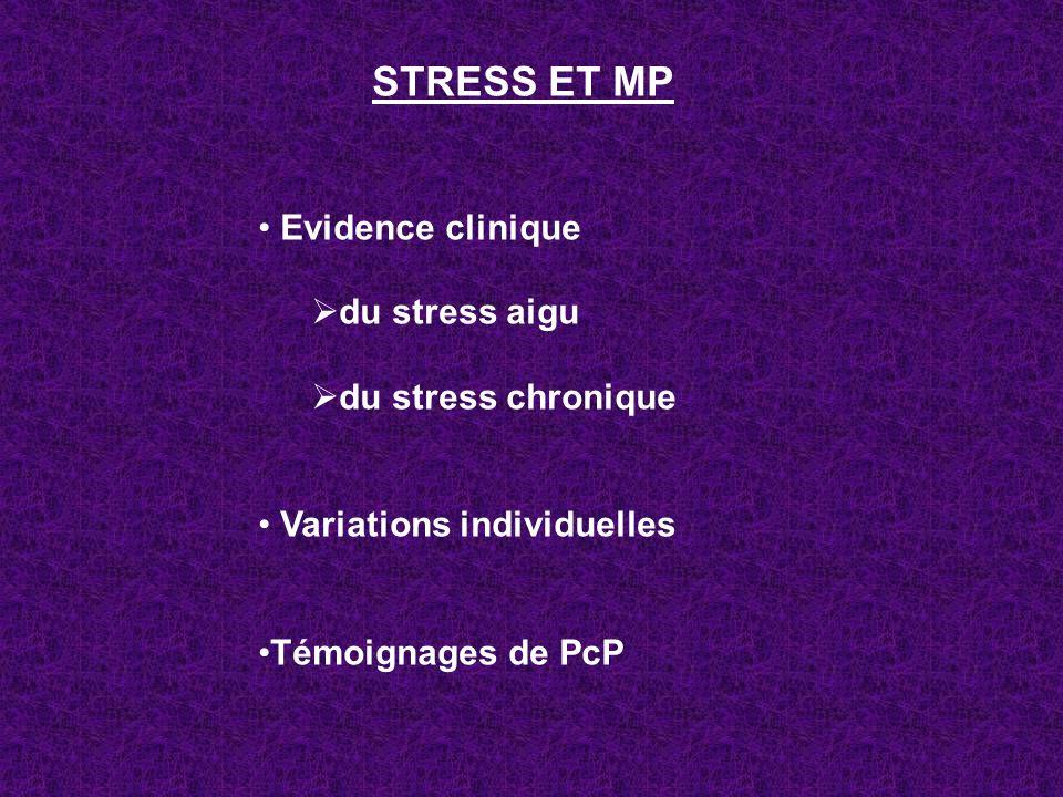 STRESS ET MP Evidence clinique du stress aigu du stress chronique