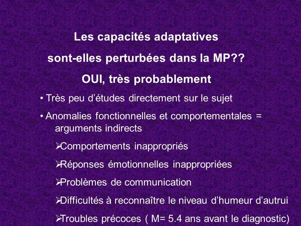 Les capacités adaptatives sont-elles perturbées dans la MP