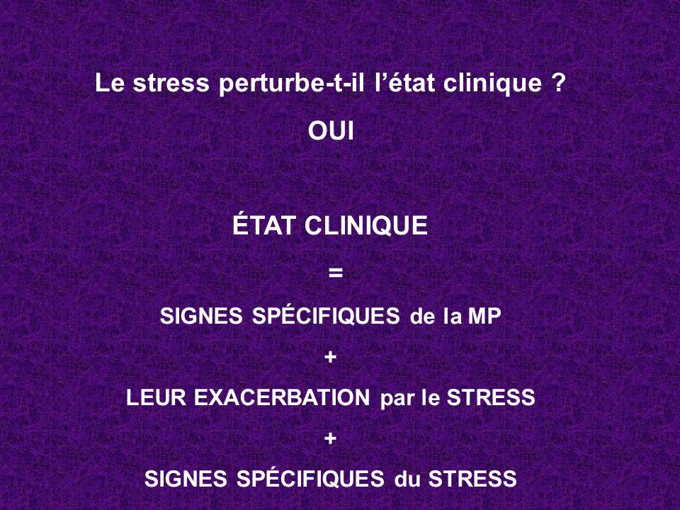 Le stress perturbe-t-il l'état clinique OUI ÉTAT CLINIQUE