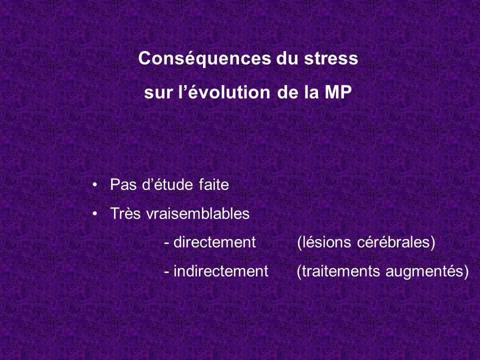 Conséquences du stress sur l'évolution de la MP