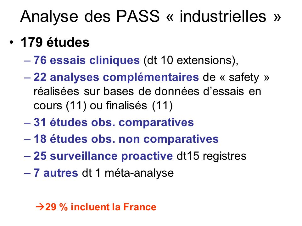 Analyse des PASS « industrielles »