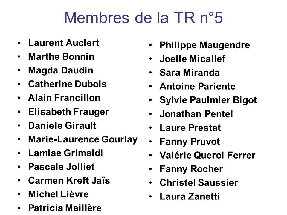 Membres de la TR n°5 Laurent Auclert Philippe Maugendre Marthe Bonnin