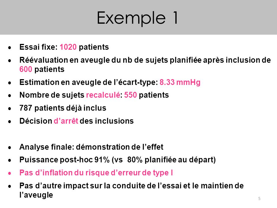 Exemple 1 Essai fixe: 1020 patients