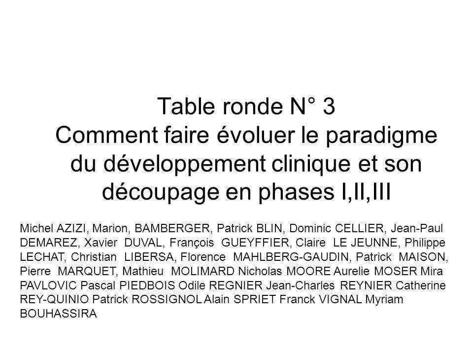 Table ronde N° 3 Comment faire évoluer le paradigme du développement clinique et son découpage en phases I,II,III