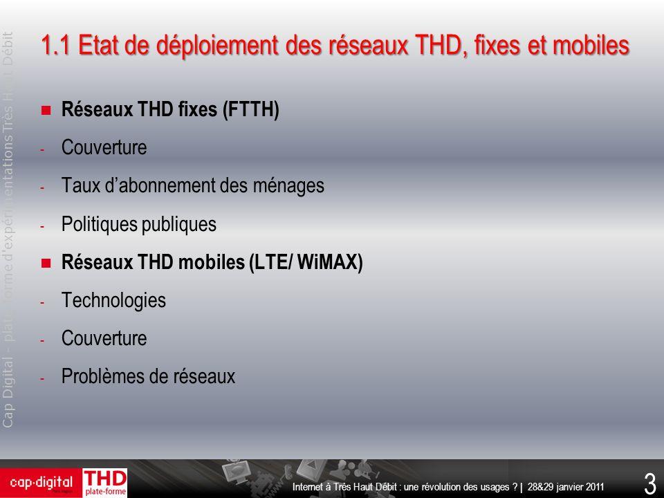 1.1 Etat de déploiement des réseaux THD, fixes et mobiles