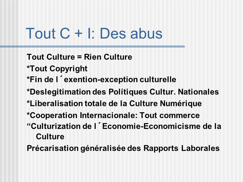 Tout C + I: Des abus Tout Culture = Rien Culture *Tout Copyright