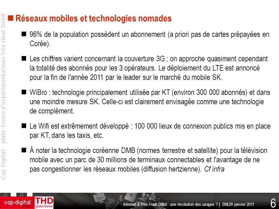 Réseaux mobiles et technologies nomades