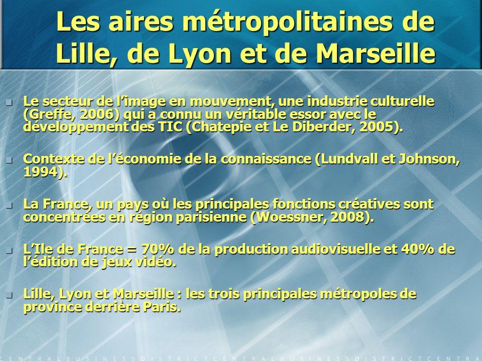 Les aires métropolitaines de Lille, de Lyon et de Marseille