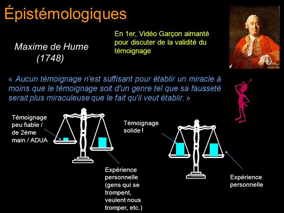 Épistémologiques Maxime de Hume (1748)