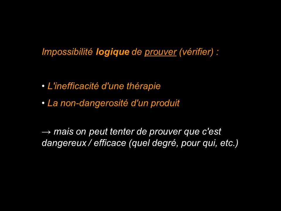 Impossibilité logique de prouver (vérifier) :