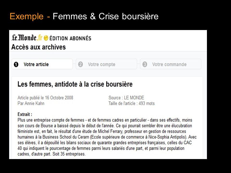 Exemple - Femmes & Crise boursière