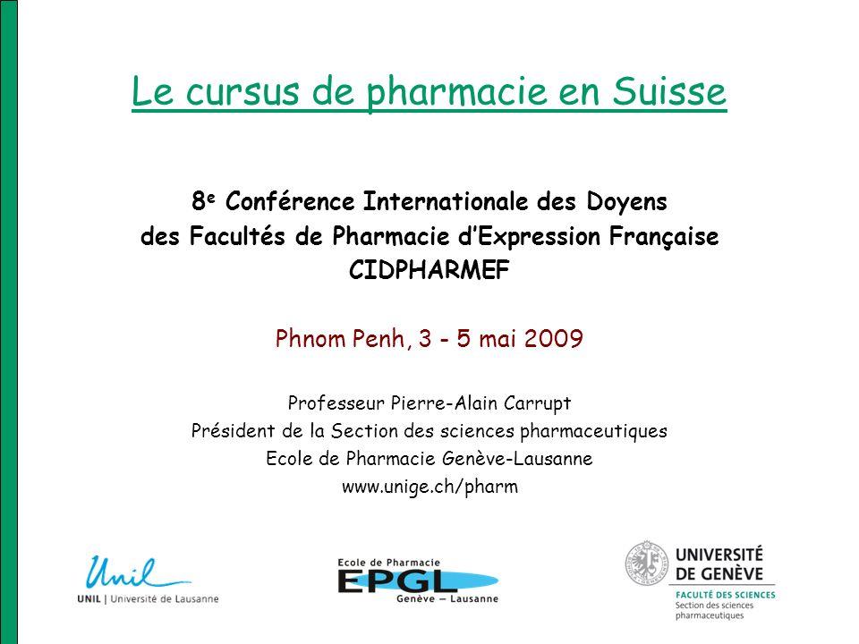 Le cursus de pharmacie en Suisse